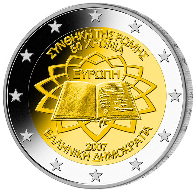 Image of 2 euro coin - 50th Anniversary of the Treaty of Rome | Greece 2007