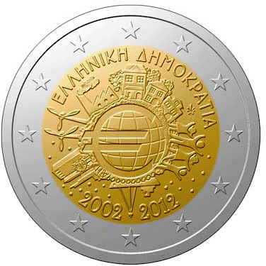 Image of 2 euro coin - Ten years of Euro  | Greece 2012