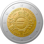 2 euro coin Ten years of Euro  | Greece 2012
