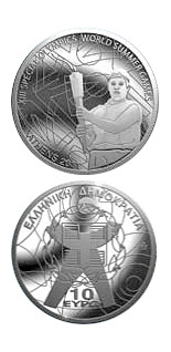 Image of 10 euro coin - XIII Special Olympics World Summer Games Athens 2011 - The Torch | Greece 2011.  The Silver coin is of Proof quality.