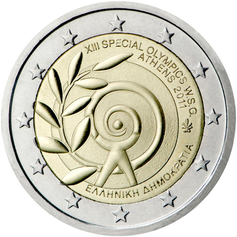 Image of 2 euro coin - The Special Olympics World Summer Games — Athens 2011  | Greece 2011