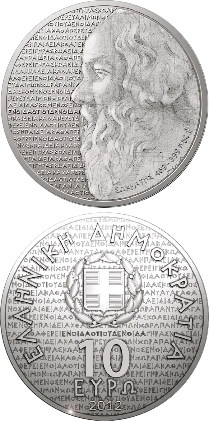 Image of 10 euro coin Greek culture Tragedians - Sokrates | Greece 2012.  The Silver coin is of Proof quality.