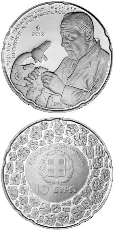Image of 10 euro coin - 50th Anniversary of the Death of Georgios N. Papanicolaou | Greece 2012.  The Silver coin is of BU quality.