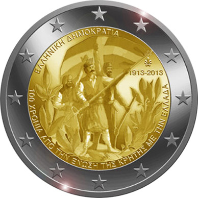Image of 2 euro coin – 100th Anniversary of the union of Crete with Greece | Greece 2013
