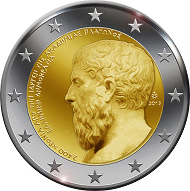 Image of 2 euro coin – The 2400th Anniversary of the founding of Plato's Academy | Greece 2013