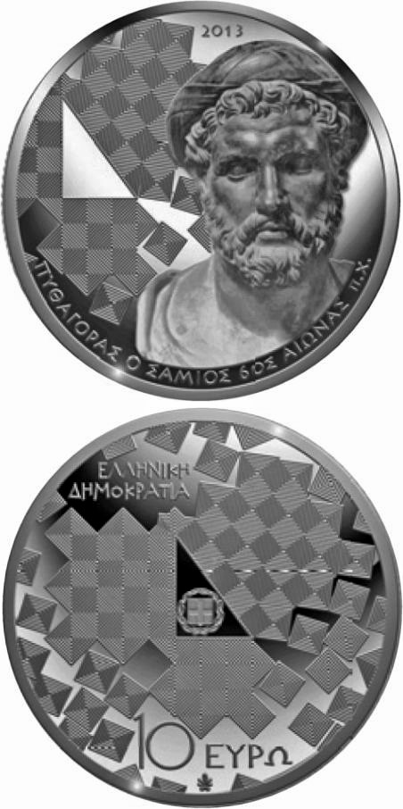 Image of 10 euro coin - Hellenic Culture & Civilization: Pythagoras of Samos | Greece 2013.  The Silver coin is of Proof quality.