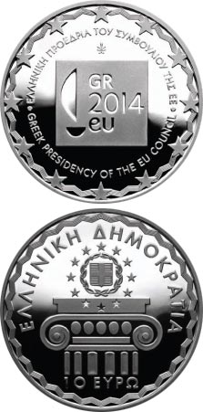 Image of 10 euro coin - Greek Presidency of the European Union Council | Greece 2014.  The Silver coin is of Proof quality.
