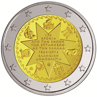 Image of 2 euro coin - 150th Anniversary of the Union of the Ionian Islands with Greece | Greece 2014