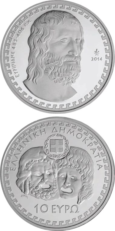 Image of 10 euro coin - Euripides  | Greece 2014.  The Silver coin is of Proof quality.