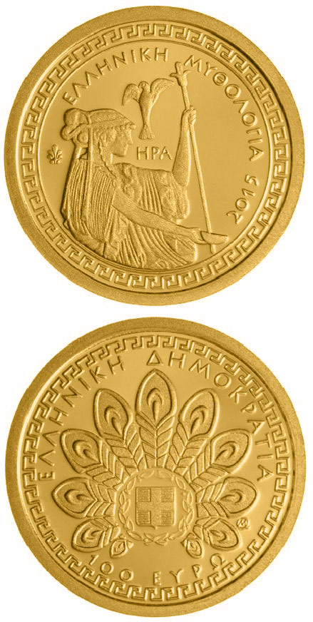 Image of 100 euro coin Greek mythology: Hera | Greece 2015.  The Gold coin is of Proof quality.