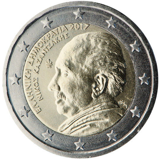 Image of 2 euro coin – 60 years in memoriam of Nikos Kazantzakis | Greece 2017