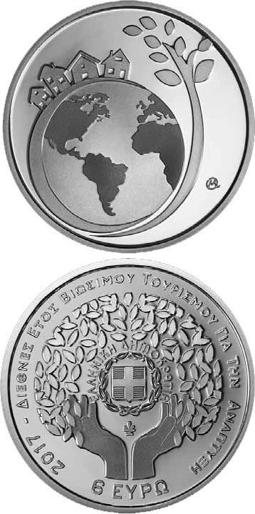 Image of 6 euro coin – Year of Sustainable Tourism | Greece 2017.  The Silver coin is of Proof quality.