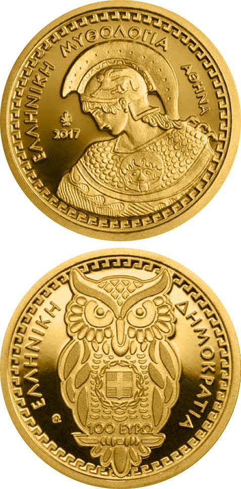 Image of 100 euro coin - The Olympian Gods – Athena | Greece 2017.  The Gold coin is of Proof quality.
