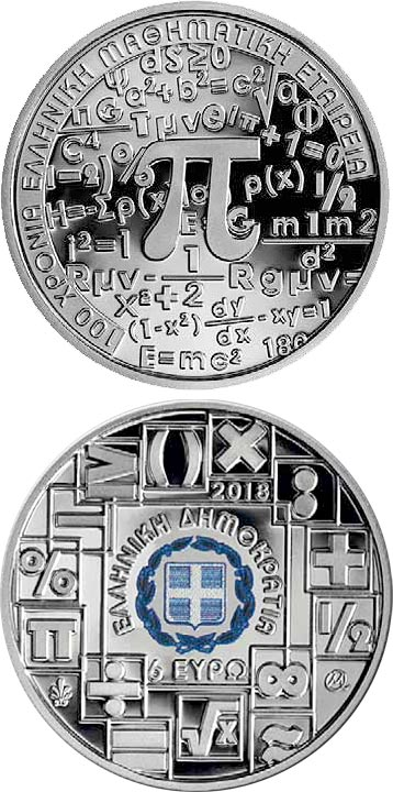 Image of 6 euro coin - Year of Mathematics | Greece 2018.  The Silver coin is of Proof quality.