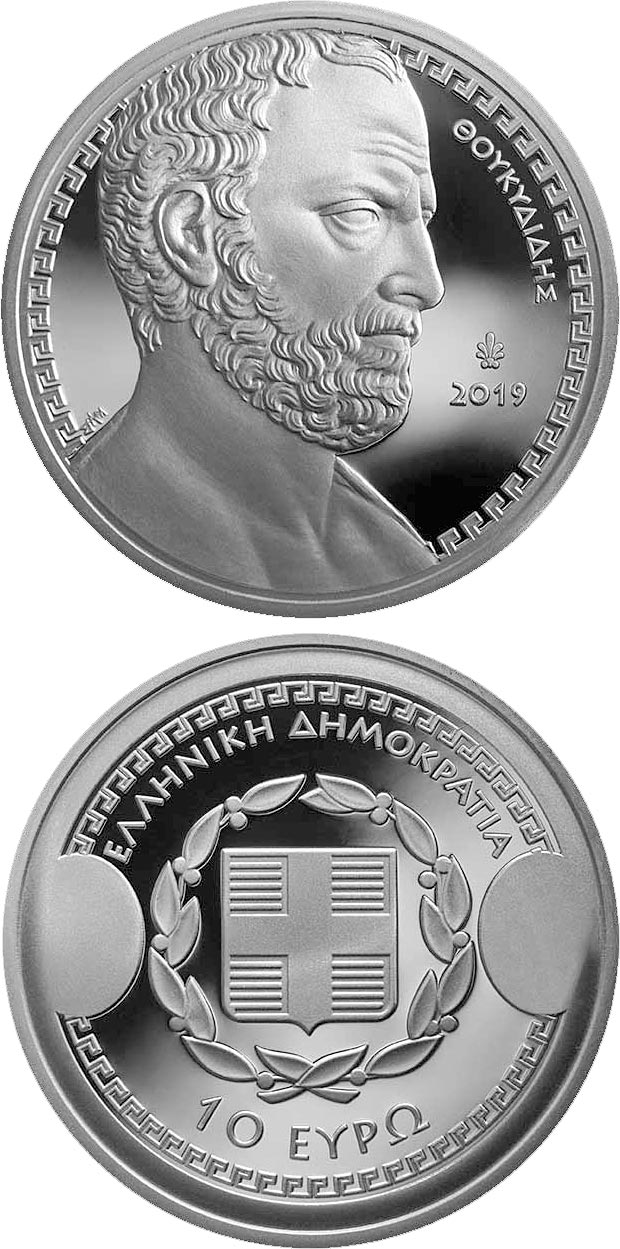 Image of 10 euro coin - Greek Culture - Historians - Thucydides | Greece 2019.  The Silver coin is of Proof quality.