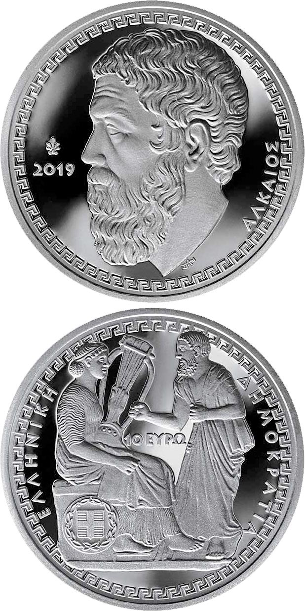 Image of 10 euro coin - Greek Culture - Lyric Poets - Alcaeus | Greece 2019.  The Silver coin is of Proof quality.