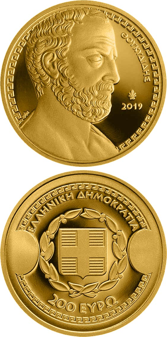 Image of 200 euro coin - Greek Culture - Historians - Thucydides | Greece 2019.  The Gold coin is of Proof quality.