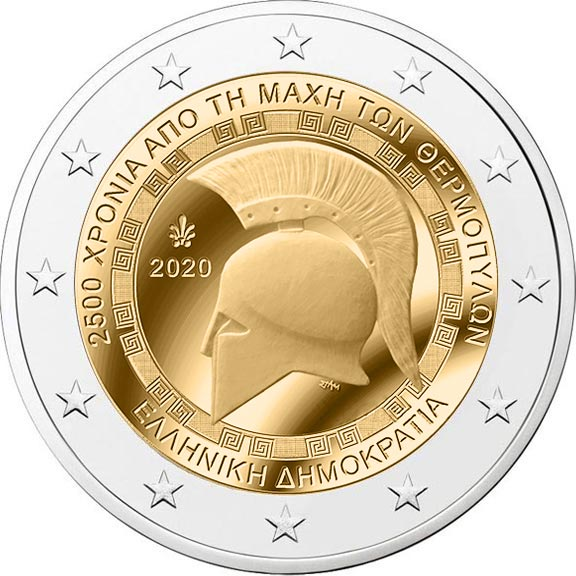 Image of 2 euro coin - 2500th Anniversary of the Battle of Thermopylae | Greece 2020