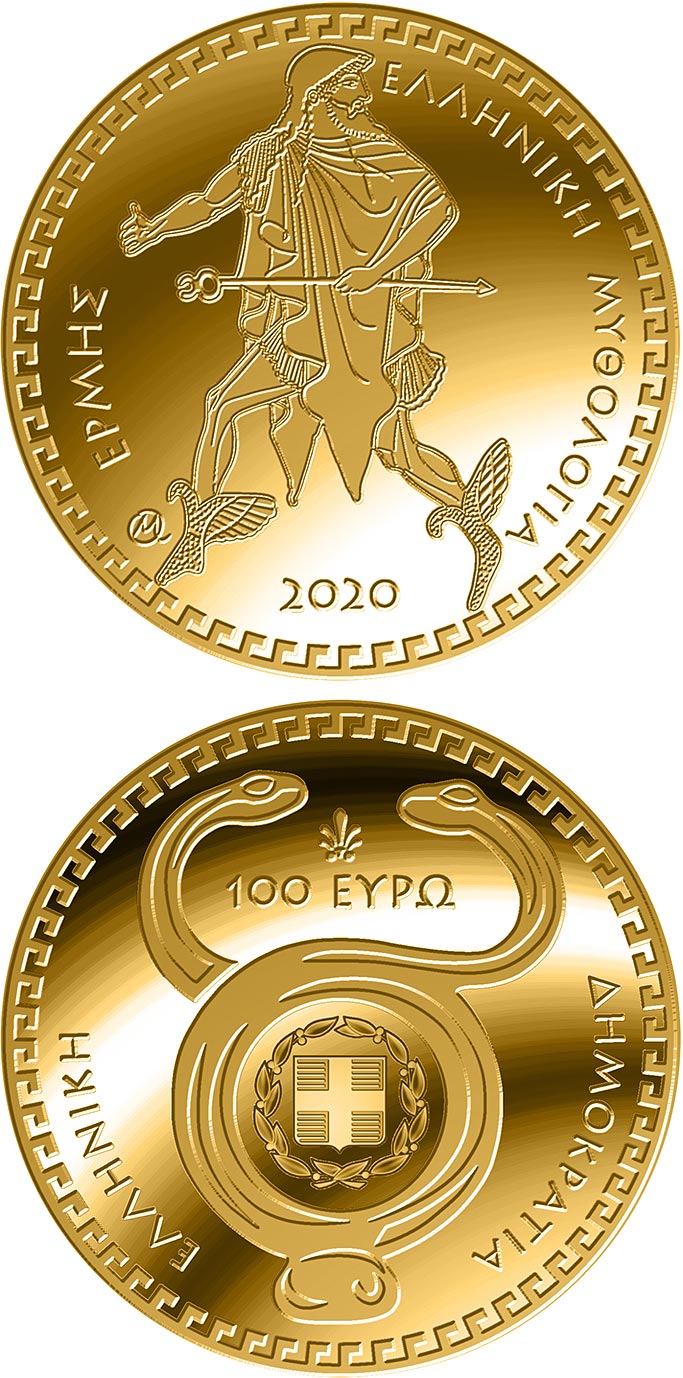 Image of 100 euro coin - The Olympian Gods – Hermes | Greece 2020.  The Gold coin is of Proof quality.