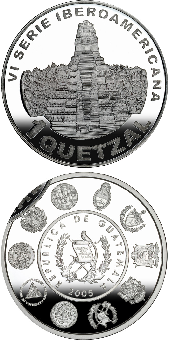Image of Architecture and Monuments – Temple of the Great Jaguar – 1 quetzal coin Guatemala 2005.  The Silver coin is of Proof quality.