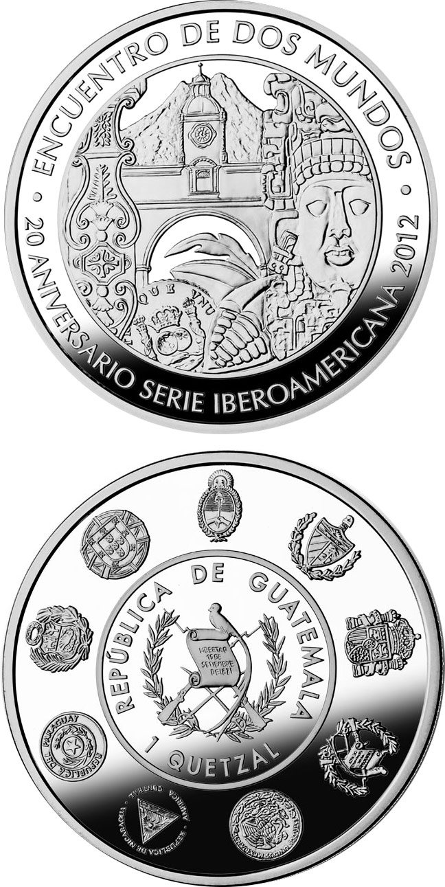 Image of 1 quetzal coin - 20th Anniversary of the Ibero-American Series | Guatemala 2012.  The Silver coin is of Proof quality.