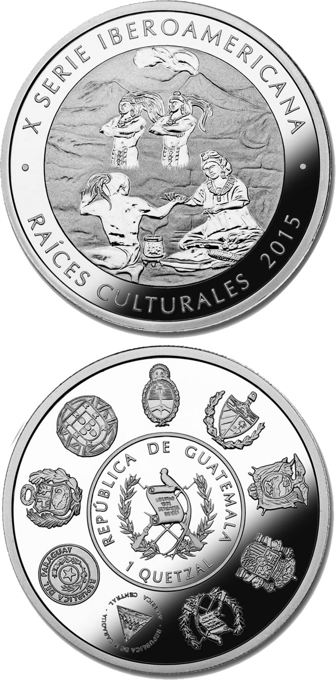 Image of 1 quetzal coin - Cultural Roots - the Lovers of Sumpa | Guatemala 2015.  The Silver coin is of Proof quality.