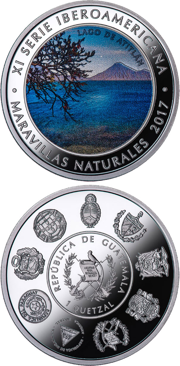 Image of 1 quetzal coin - Wonders of nature - Lake Atitlan | Guatemala 2017.  The Silver coin is of Proof quality.