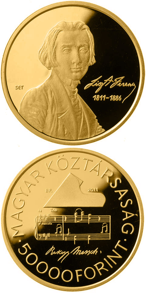 Image of 50000 forint coin - 200th anniversary of the birth of Ferenc Liszt  | Hungary 2011.  The Gold coin is of Proof quality.