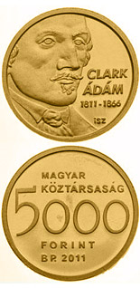 5000 forint coin 200th anniversary of the birth of Adam Clark  | Hungary 2011