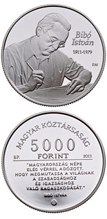 5000 forint 100th anniversary of the birth of István Bibó  - 2011 - Series: Silver forint coins - Hungary