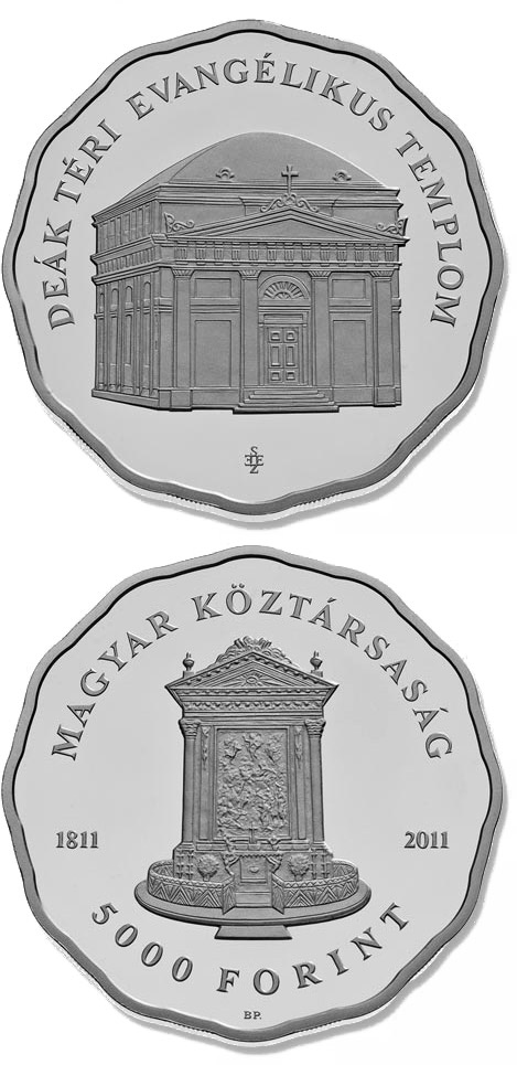 Image of 5000 forint coin - 200th anniversary of the consecration of the Evangelical Church on Deák Square  | Hungary 2011.  The Silver coin is of Proof, BU quality.