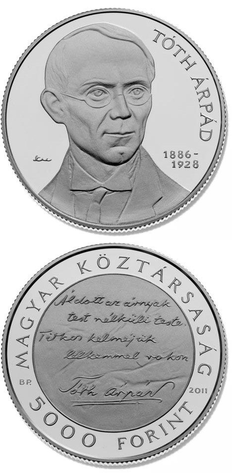 Image of 5000 forint coin - 125th Anniversary of birth of Árpád Tóth | Hungary 2011.  The Silver coin is of Proof, BU quality.
