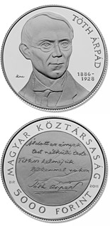 5000 forint coin 125th Anniversary of birth of Árpád Tóth | Hungary 2011