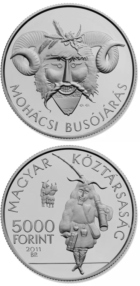 Image of 5000 forint coin The Busó Festivities at Mohács, BU | Hungary 2011.  The Silver coin is of Proof, BU quality.