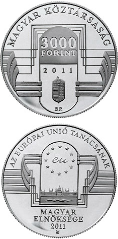Image of 5000 forint coin – Hungarian Presidency of the Council of the European Union  | Hungary 2011.  The Silver coin is of Proof, BU quality.