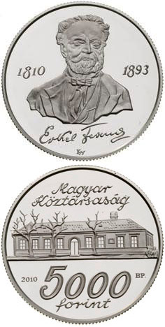 Image of 200th anniversary of Birth of Erkel Ferenc – 5000 forint coin Hungary 2010.  The Silver coin is of Proof, BU quality.