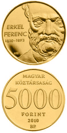 Image of 5000 forint coin - 200th anniversary of Birth of Erkel Ferenc | Hungary 2010.  The Gold coin is of Proof quality.