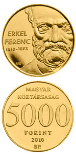 5000 forint 200th anniversary of Birth of Erkel Ferenc - 2010 - Series: Gold forint coins - Hungary
