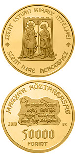 50000 forint Monishments of King St. Stephen - 2010 - Series: Gold forint coins - Hungary