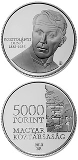 5000 forint 125th Anniversary of birth of Dezső Kosztolányi  - 2010 - Series: Silver forint coins - Hungary