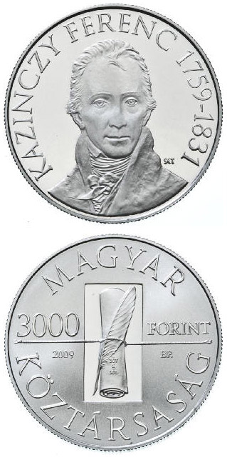 Image of 3000 forint coin – 250th Anniversary of the birth of the Ferenc Kazinczy | Hungary 2009.  The Silver coin is of Proof, BU quality.