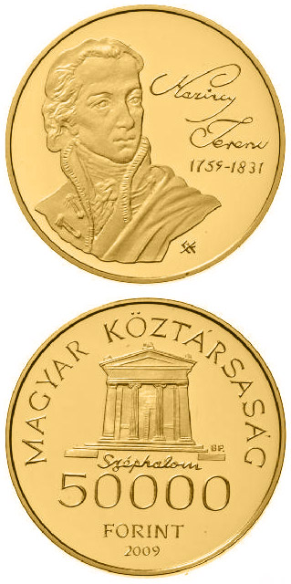 Image of 50000 forint coin - 250th Anniversary of the birth of the Ferenc Kazinczy | Hungary 2009.  The Gold coin is of Proof quality.