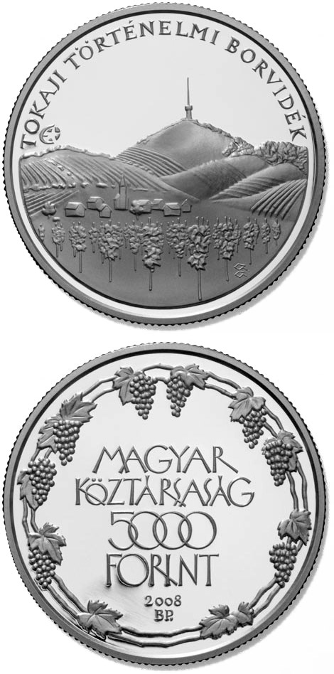 Image of 5000 forint coin - Tokaj Historic Wine Region Cultural Landscape | Hungary 2008.  The Silver coin is of Proof, BU quality.