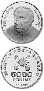 5000 forint 100th Anniversary of Birth of Ede Teller - 2008 - Series: Silver forint coins - Hungary