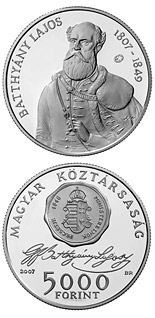 5000 forint coin 200th Anniversary of the Birth of Lajos Batthyány | Hungary 2007