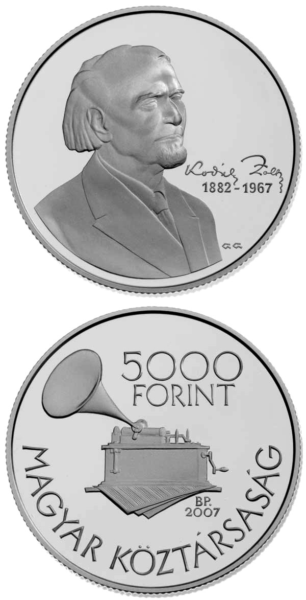 Image of 5000 forint coin 125th Anniversary of the Birth of Zoltán Kodály | Hungary 2007.  The Silver coin is of Proof, BU quality.