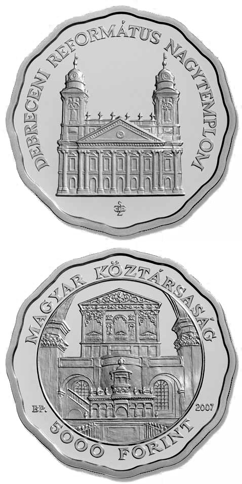 Image of 5000 forint coin - Debrecen Reformed Churche | Hungary 2007.  The Silver coin is of Proof, BU quality.