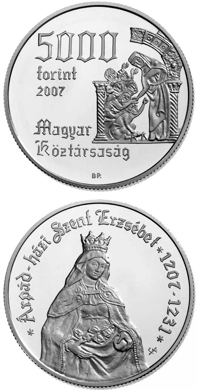 Image of 5000 forint coin - 800th Anniversary of the Birth of St. Elisabeth of the Arpad-Dynasty (1207-1231) | Hungary 2007.  The Silver coin is of Proof, BU quality.