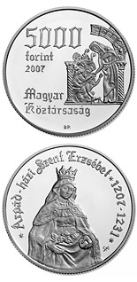 5000 forint coin 800th Anniversary of the Birth of St. Elisabeth of the Arpad-Dynasty (1207-1231) | Hungary 2007
