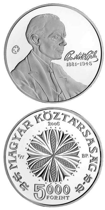 Image of 5000 forint coin – 125th Anniversary of the Birth of Béla Bartók | Hungary 2006.  The Silver coin is of Proof, BU quality.